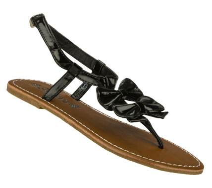 Surf Give her fun and fashion with the SKECHERS Cali Breezy Steps sandal.  Shiny patent synthetic upper in a strappy flat thong sandal with stitching accents and double front bow. - $22.00