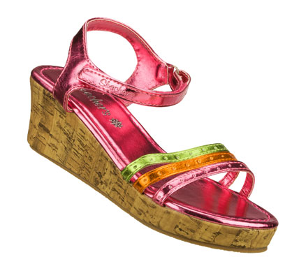 Entertainment Bright fun style keeps her floating along in the SKECHERS Cali Loopies sandal.  Shiny metallic faux leather upper in an ankle strap wedge heeled dress casual slide sandal with stitching accents. - $28.00