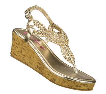 Entertainment Shiny and stylish fun comes in the SKECHERS Cali Loopies - Snazzy Steps sandal.  Shiny metallic faux leather upper in a wedge heeled dress casual strappy thong sandal with woven detail and adjustable heel sling strap. - $28.00