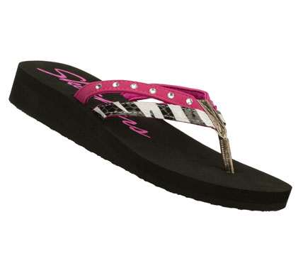 Surf Every day should be this easygoing with the SKECHERS Cali Beach Read - South Beach sandal.  Smooth and printed faux leather in a strappy flip flop thong sandal with low wedge heel. - $20.00