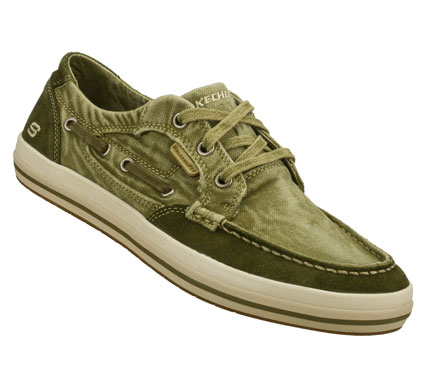 Fitness Life goes sailing along wearing the SKECHERS Relaxed Fit(R): Diamondback - Leroy shoe.  Soft faded canvas fabric and suede upper in a lace up casual comfort boat shoe with stitching and overlay accents. Memory Foam insole. - $65.00