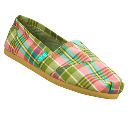 Classic colorful style comes in the SKECHERS Bobs - Support shoe.  Soft woven twill fabric upper in a colorful madras plaid print slip on casual alpargata flat with stitching and overlay accents. - $34.00