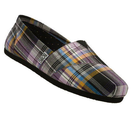Classic colorful style comes in the SKECHERS Bobs - Support shoe.  Soft woven twill fabric upper in a colorful madras plaid print slip on casual alpargata flat with stitching and overlay accents. - $38.00