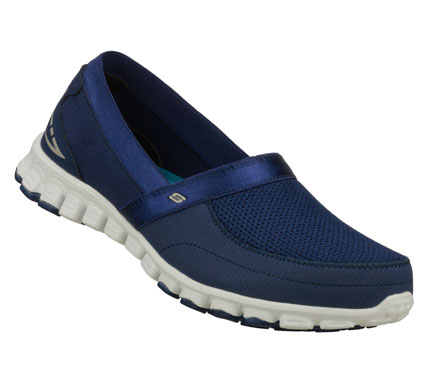 Relax into fun sporty style with the SKECHERS EZ Flex - Take It Easy shoe. Smooth faux leather and mesh fabric upper in a slip on sporty casual sneaker with stitching and overlay accents. Memory Foam insole. - $62.00