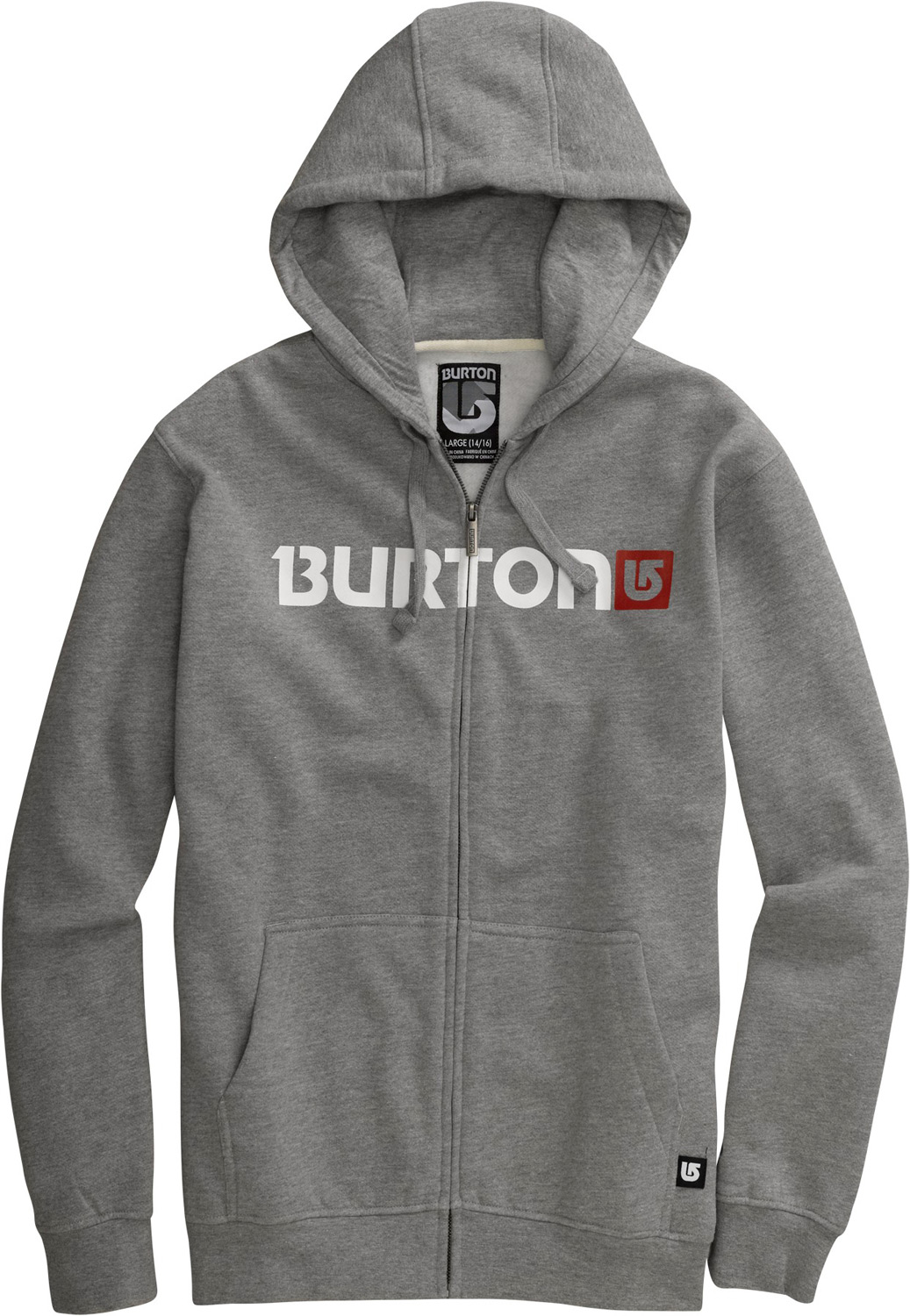 Snowboard Key Features of the Burton Logo Horizontal Hoodie: 80% Cotton/20% Polyester, 300G Fleece Kangaroo Hand Warmer Pocket w/Interior Media Stash Signature Fit Hidden Side Seam Stash Pocket Word Marker Logo Print on Chest S-XL - $41.95