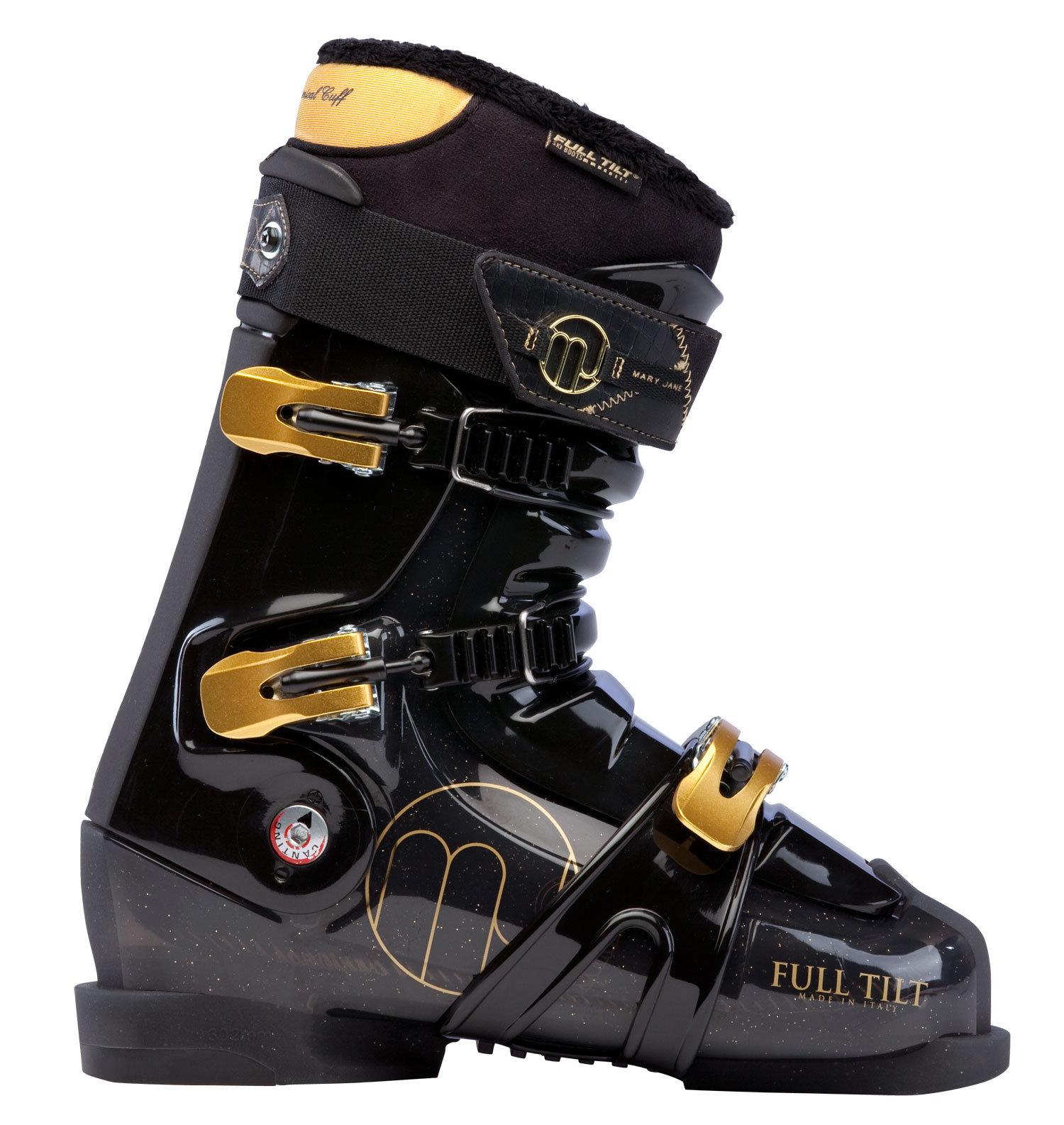 Ski Key Features of the Full Tilt Mary Jane Ski Boots: Shell: FTI Influence Last Width: 102mm Women's Fit Tongue (10 = Stiffest Flex): Interchangeable 4 Flex / 5 Ribs Weight g (sizes M 27, W 25): 1748 Foot Board: Active Sole: Replaceable Rubber Small Heel Buckles: 3 Aluminum Macro Ladder + Micro Closure System: 2 Upper Cables 1 Lower Wrap Strap Forward Cant Adjustment: n/a Lateral Cant Adjustment: 3mm Toe / Heal Height: 18.5mm / 34mm Cuff: Free Hinging Women's Fit Quickfit Liner Model: WOMEN'S PLUSH Open Cell Foam: 8mm Soft Density Intuition Foam: 2mm Regular Density Intuition Foam: 7mm Moldable Foam: Intuition Wide Toe: Wide Toe - $279.95