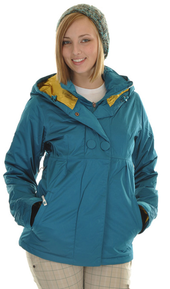 Snowboard This Women's Roxy Torah Snowboard jacket combines style and versatility. The jacket is extremely breathable and waterproof so you can stay warm and dry all day long. The satin lining is luxurious and will keep you comfortable. The buttons on the front of the jacket add a splash style and sophistication. The inside chest pocket is perfect for storing your valuables such as your cell phone or media player. Make sure to pick up this jacket if you're looking for something stylish and comfortable.Key Features of the Roxy Torah Bright Snowboard Jacket: 10,000mm Waterproof 10,000g Breathability 100% Nylon Insulation: Primaloft Sport 133g Body / 100g Sleeves / 60g Hood Full Satin Lining Magnet Center Front Closure Media Inside Chest Pocket Jacket Length: 28.5o from Hips Fully Taped Seams Fixed Fabric Covered Buttons - $164.95
