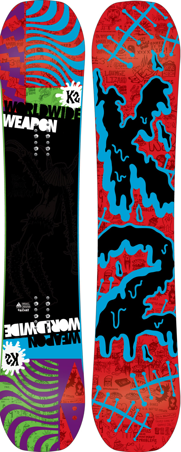 Snowboard JIB & RAIL DEEP ROOTS. The Weapon has been pushing rider creativity on jibs for over a decade. Originally designed by the Robot Food era K2 team, the Weapon was created as a platform for progression and originality. A style carried on by rider like Nick Dirks and Jake Kuzyk.Key Features of the K2 WWW Snowboard: Jib Rocker JibTip Diecut P-Tex Top Baseline: Jib Rocker Damping: Standard Construction: JibTip, Hybritech Shape: Twin Hyper Progressive Stance: Centered Core:W1 Glass: Biax / Biax Additives: P-Tex Top Base: 2000 Extruded Base Bevel: 3 degree - $279.95