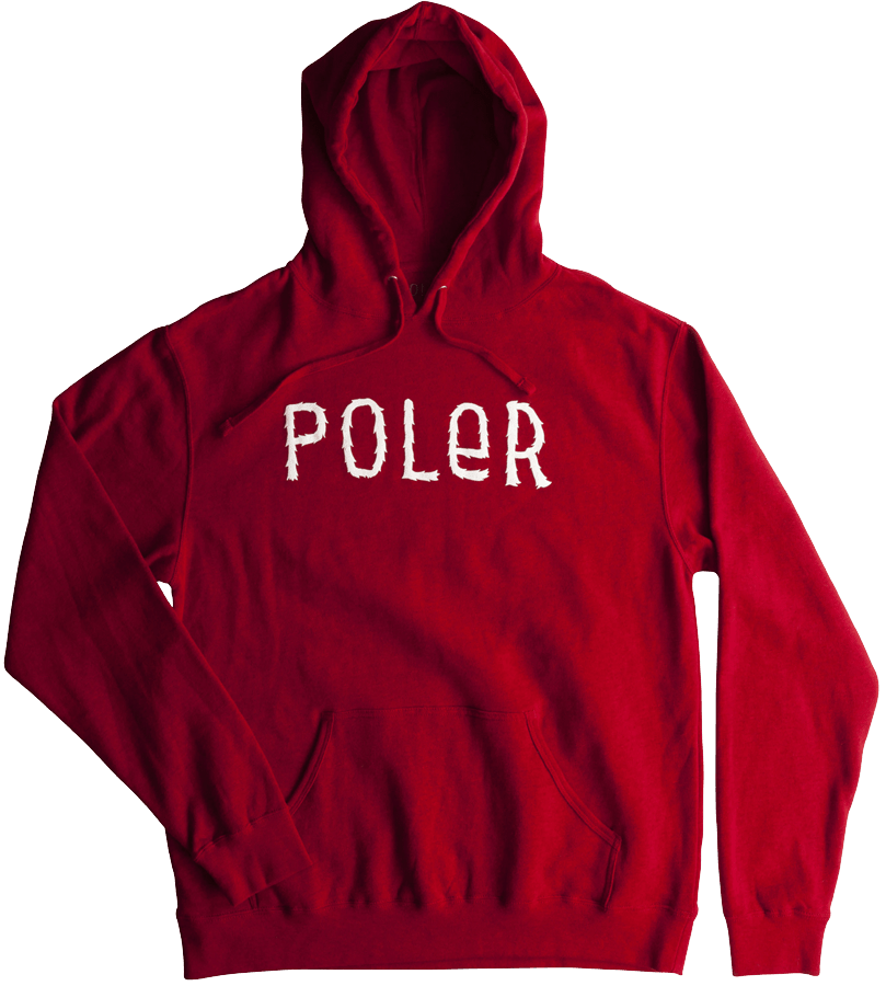 Snowboard Poler Furry Font Pullover Hoodie in Red Heather - $49.95