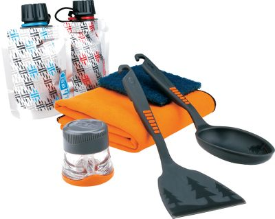 Camp and Hike Add a little variety to your campsite cooking with this eight-piece GSI Outdoors Pack kitchen set. Two soft, refillable condiment containers hold your favorite flavor enhancers, such as ketchup, mustard, salad dressing and more. Waterproof spice shaker has twin compartments that are perfect for salt and pepper. Lightweight and compact spatula and spoon are safe to use on nonstick cookware and feature notches on the handles for hanging. Wash everything down at the end of your meal with the included polyester Scotch-Brite scrubber pad, and dry it off with the soft viscose-polyester towel. Imported. Overall weight (unfilled): 3.7 oz. Color: Multi. Type: Cookware Sets. - $16.99