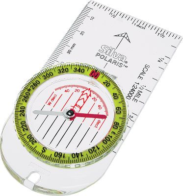Camp and Hike With guaranteed accuracy and field-proven quality, the Polaris compasss high-visibility, brightly colored dial and clear baseplate help make map reading and course plotting easier. Features include large, easy-to-read numbers at every 20 mark, inch and millimeter measuring scales, 1:24,000 map scale, 2 dial graduations and a lanyard hole. Color: White. Type: Compasses. - $16.99