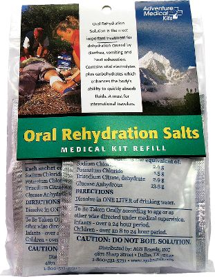 Camp and Hike Trusted and used by the World Health Organization, these Adventure Medical Kits oral rehydration salts are used to treat severe dehydration. Packed with glucose, sodium and potassium. Dissolve one packet in one liter of water and sip. Ideal for emergency- and disaster-preparedness kits, backpacking and international travel. Contains three packets. - $9.99