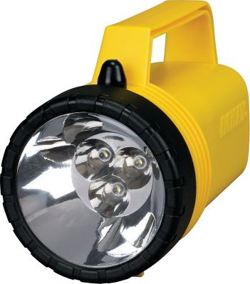 Camp and Hike Perfect for on the boat or at your wettest job site, this rugged, weatherproof lantern floats, even if its dropped in water. The shatterproof lens and rugged polyethylene case withstand up to one-meter drops. Large reflector and LED deliver a broad and powerful 35-lumen beam of light that reaches up to 885 feet. Runs up to 13 hours on one 6-volt battery. Meets IPX4 requirements. Made in USA. Dimensions: 7.25L x 4W x 4.6H. - $7.99