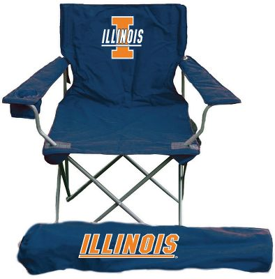 Camp and Hike An essential for the tailgate party, patio or campsite. Collegiate Quad Chair features a fabric back and full-length pillow in the backrest for comfort. Convenient cup holder in the armrest. Logos on front, back and included carry bag. Easy to fold and unfold. Powder-coated steel frame. 600-denier polyester. Imported.Weight capacity: 250 lbs.Dimensions: 35H x 22W x 22D.Colleges available: Alabama, Arkansas, Auburn, Bowling Green, Central Michigan, Cincinnati, Citadel, Clemson, Florida, Florida State, Georgia, Georgia Tech, Illinois, Iowa, Iowa State, Kansas, Kansas State, Kentucky, LSU, Marshall, Miami, Michigan, Michigan State, Minnesota, Mississippi, Mississippi State, Missouri, Montana, Nevada, NC State, Nebraska, Oklahoma, Oklahoma State, Penn State, South Carolina, South Florida, Tennessee, Texas AM, Texas Tech, US Naval Academy, VA Tech, Virginia, Washington State, West Virginia, Western Michigan, Wisconsin.Designs and colors also available: Auburn Orange, Florida Orange, Georgia Black, Nebraska Blackshirts, Virginia Orange. Style Illinois. - $39.99