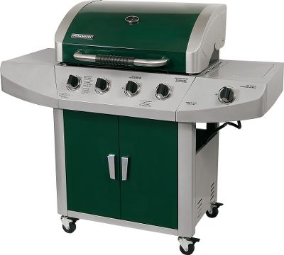 Camp and Hike The Brinkmann Four-Burner Gas Grill provides 650 sq. in. of total cooking area. With four stainless steel main burners for a total of 48,000-BTU and a 12,000-BTU side burner, this grill is ready for big get-together or just a dinner for two. Features include a porcelain-coated hood with CRS end caps, porcelain-coated cast-iron cooking grates, storage in the base and heavy-duty steel locking casters for easy positioning. Propane cylinder not included.Primary cooking area: 513 sq. in.Secondary cooking area: 137 sq. in.Total cooking area: 650 sq. in.Weight: 110.8 lbs.Grill dimensions: 48H x 56W x 23D. - $199.99