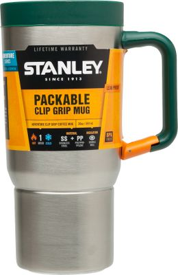 The Stanley Adventure Stainless Steel 20-oz. Packable Mug is leakproof and fully packable. Double-wall insulation keeps beverages hot or cold for up to 1-1/2 hours. Handle clips to a pack. Made of BPA-free 18/8 stainless steel that wont rust. Dishwasher safe. Lifetime warranty. Weight: .77 lbs. Dimensions: 5.2L x 3.6W x 7.9H. Color: Stainless Steel. Color: Stainless Steel. - $13.99