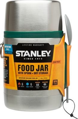 The Stanley Adventure 18-oz. Food Jar is vacuum-insulated to keep food hot or cold for up to six hours. The wide mouth makes it perfect for soup or chili. The insulated lid doubles as a 12-oz. bowl. Includes a full-size spork. Theres even a spot in the stopper for dry storage of fixings. Its leakproof and fully packable. Made of BPA-free 18/8 stainless steel that wont rust. Dishwasher safe. Lifetime warranty. Weight: .88 lbs. Dimensions: 4.5L x 3.7W x 6.9H. Color: Stainless Steel. Color: Stainless Steel. - $26.88