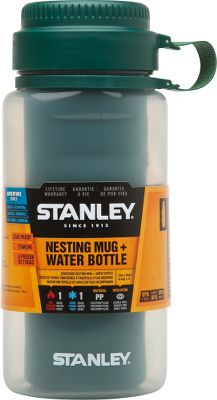 The Stanley Adventure Nesting Mug and Water Bottle saves space in backpacks and cabinets. The mug fits into the water bottle for storage. The leakproof water bottle holds 32 oz. The 14-oz. mug is double-wall insulated and keeps beverages hot up to one hour. BPA-free. Dishwasher safe. Lifetime warranty.Weight: .83 lbs.Dimensions: 3.7L x 3.1W x 8.7H.Color: Green. Type: Beverage Holders. - $9.88