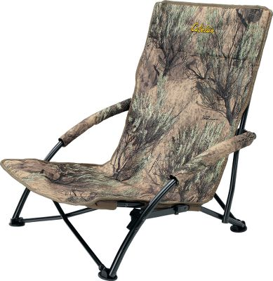 Hunting Take this lightweight, portable chair along on your predator hunts and youll sit comfortably on the roughest frozen ground. At just 6-1/2 lbs., this portable hunting chair is easy to transport to and from the field. Just use the handy carry strap to sling it over your shoulder when its time to relocate. Setup is quick, easy and quiet. Seating area measures 20-1/2-wide x 17-deep with a 23-1/4-high backrest. The rugged steel frame has a weight capacity of 225 lbs., tested to 250 lbs., but is lightweight enough to make it easy to carry long distances. The rugged weather-resistant seat is constructed of 600-denier polyester with a waterproof PVC backing. Imported. Camo pattern: Cabelas Zonz Western. Color: Camo. - $31.88