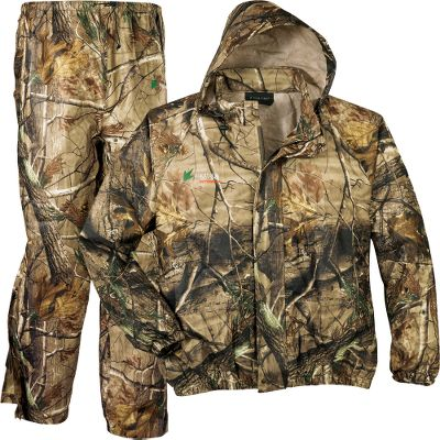 "Hunting Features a roomy jacket with a hood that zips into the collar. Use it when you need it, hide it when you don t. The full-length zipper is covered by a snap-close storm flap to keep wind and rain out. The pants have pass-through pockets, an elastic waist with barrel-pull drawstring and 8"" leg zippers with elastic cuffs. This rainwear has three layers of polypropylene with a center layer of microporous film. The fabric literally has pores that allow vapor to escape. These pores are 20,000 times smaller than a drop of water, so rest assured that water can t enter the suit. For added durability, the seams have been redesigned and are stronger than ever. Sizes: M-3XL. Camo pattern: Realtree AP , Mossy Oak Break-Up Infinity . - $54.88"