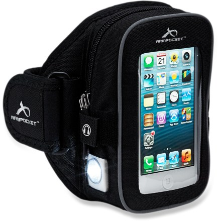 Fitness The Armpocket NightHawk armband features built-in LED lights and reflective highlights to keep you visible while running at night. 2 ultrabright LED lights illuminate the path ahead, while a red flashing light on the back keeps you visible. Ergonomic design and memory foam padding resist slipping for a secure fit. Small storage pocket fits your keys, gel packs, credit and ID cards. The Armpocket NightHawk armband fits the iPhone 5, Samsung Galaxy S III and other phones up to 5.3 in. long. Medium armband fits arms with a circumference of 10 - 16 in. - $49.95