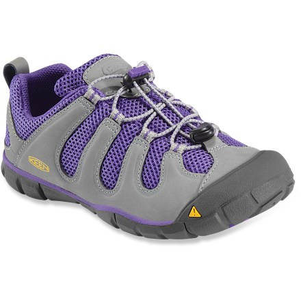 Camp and Hike Sleeker than original Keen shoes, the all-new Keen Sagewood CNX cross-training shoes let your little adventurer explore and play while staying light and nimble, yet solid, on her feet. As part of the Keen CNX line, these shoes have a slightly reduced width and overall volume compared to regular Keen shoes. Polyester mesh linings wick moisture and dry quickly for all-day comfort. Topsoles feature contoured arches for light support. Thin polyurethane midsoles encourage natural movement while also offering light cushioning underfoot. Thermoplastic urethane shanks supply stability and support for tackling uneven terrain. Nonmarking rubber outsoles on the Keen Sagewood CNX shoes feature multidirectional flex grooves with razor siping for enhanced traction on slick surfaces. - $37.93