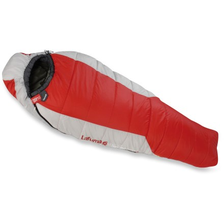 Camp and Hike Stay warm without breaking the bank in the Lafuma GR 30 sleeping bag; it's engineered for comfort and performance. Lafuma synthetic fiber insulation efficiently retains body heat. Synthetic lining is soft, incredibly lightweight and durable. Insulated hood and internal draft collar feature drawcords, making quick adjustments and improving thermal efficiency a cinch. Cold-proof flap, wind-protective curve zones and insulated draft tube backing zipper keep warm air in and cold air out. Trapezoidal footbox allows down to loft fully around your feet for optimum warmth and comfort. Luminescent zipper pulls make adjustments easy at night; anti-jamming, dual zippers are easy to operate. Closeout. - $70.93