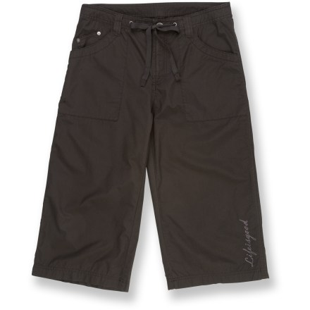 Camp and Hike The Life is good(R) Beachcomber Crops capris are ready for the beach or the backyard. Lightweight cotton poplin breathes naturally. Front patch pockets, 1 with a coin pocket; 2 back pockets with flap closures. Zip fly on a drawstring waist. Relaxed fit. Closeout. - $23.73