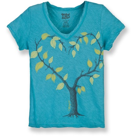 The Life is good(R) Gauzy Organic Twist T-shirt features a fun graphic that's sure to please. Made from certified 100% organic cotton for breathable comfort and easy care. Fabric twisted at neck, hem and cuffs for style. Applique and embroidery detail. Off-center side seams. Semifitted. Closeout. - $24.93