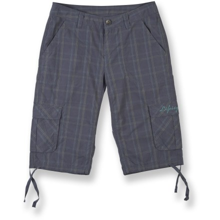 Surf The women's Life is good(R) Journey Cargo shorts are fun plaid shorts in a longer length. Cotton poplin is garment washed for softness. Mid-rise waist features fixed waistband, zip fly and button closure. Hand pockets, cargo pockets and back flap pockets. Closeout. - $21.73