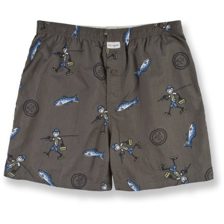 Give your favorite fisherman the gift of comfort with Life is good(R) cotton boxers. With a fun, fishing-inspired pattern and soft, breathable cotton, they're a real catch! Cotton fabric is naturally soft, breathable and comfortable. Elastic waistband ensures a snug fit that's not too tight. Closeout. - $14.73