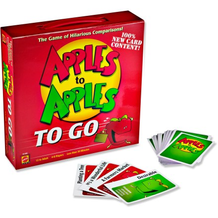 Camp and Hike The Apples to Apples To Go travel game takes this wildly popular party game on the road. Now you can play the game of hilarious comparisons everywhere you roam! Players pick a card from their hands that best describes the card played by the judge; if the judge picks your card, you win the round. Hilarity ensues every round as each player takes a turn as judge and farfetched and unusual comparisons are drawn. Game requires 4 or more players. Recommended for ages 12 years and older. - $14.93