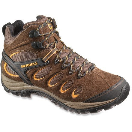 Camp and Hike The lightweight Merrell Chameleon 5 Mid Ventilator waterproof hiking boots offer the support, protection and traction you need to handle rugged trails. - $79.83