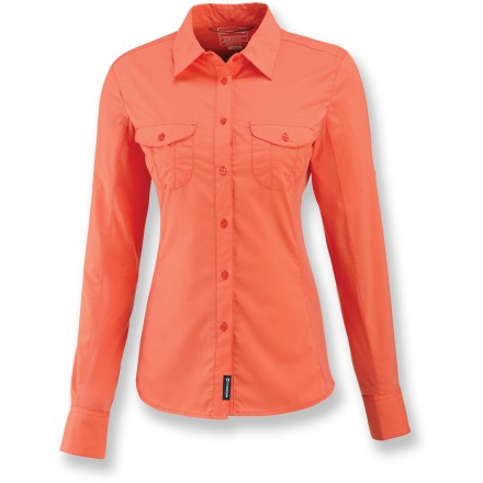 The women's Merrell Ophelia long-sleeve shirt is made from an easy-care, stretch fabric that handles rugged travel adventures with ease. Stretchy polyester, treated with Merrell Opti-Wick(TM), moves moisture away from your skin and accelerates the evaporation process. Integrated UPF 30 sun protection continuously guards against harmful ultraviolet rays. Articulated underarm piecing and stretch side panels enhance breathability and comfort. Merrell Ophelia shirt features 2 chest pockets and 1 zippered security pocket to safely stow essentials. Closeout. - $44.73