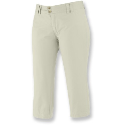 Camp and Hike The Merrell Kaliopi capris are an easy choice for wandering the cobblestone streets of Buenos Aires or sampling the local fare at your neighborhood farmer's market. Capris are made with cotton fabric for long-lasting wear; elastane adds the right amount of stretch. Invisible zip pocket pocket to stash valuables; 2 rear pockets with button closures. Zippered fly and 2-button closure. Closeout. - $19.73
