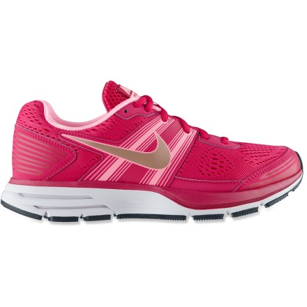 Fitness The legend returns! The women's Nike Air Pegasus+ 29 road-running shoes offer amazing cushioning and comfort to recreational and seasoned runners alike. Enhanced cushioning makes the Nike Air Pegasus+ 29 shoes ideal for neutral runners and underpronators. Flexible polyester mesh uppers supply ample ventilation and feature strategically placed overlays for a snug fit without constricting foot or affecting breathability. Polyester linings wick moisture away from feet for extended comfort during intense runs. Midsoles supply lightweight cushioning and feature a Nike Zoom cushioning unit in the heels for additional comfort. Integrated crash pads absorb the shock of impact, creating a smooth transition to the forefoot. Waffle rubber outsoles provide great traction on multiple surfaces; flex grooves increase stability. - $69.93