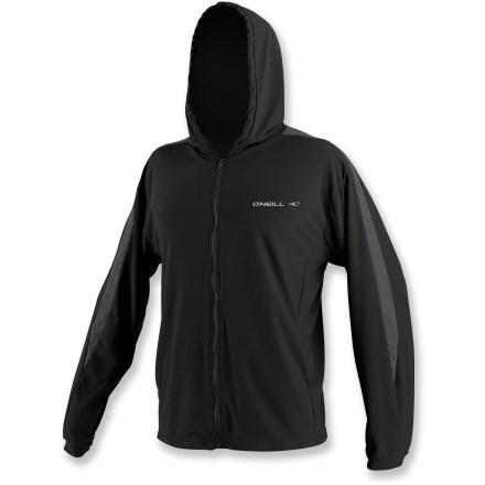 Kayak and Canoe A fully functional rashguard masquerading as a casual hoodie, the O'Neill 24-7 Tech full-zip hoodie is right at home on a stand up paddleboard or in a kayak. Quick-drying fabric offers lightweight, breathable protection. Flatlock seams won't chafe and ensure a streamlined look and feel. With a UPF 30 rating, fabric provides good protection against harmful ultraviolet rays. Zippered pockets store extras. Relaxed fit allows full range of motion. Hand wash the O'Neill 24-7 Tech full-zip hoodie and drip dry. - $66.95