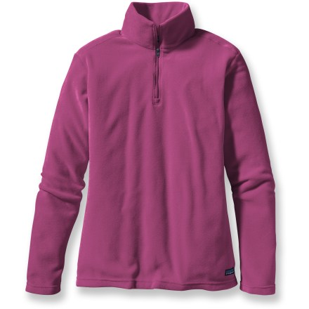 Entertainment For mountain treks and dog walking (and the many other times you wear fleece), the Patagonia Micro D quarter-zip fleece top gives you the fuzzy softness of microfleece. Polyester microfleece is highly breathable and quick drying. Angled side seams for a feminine shape; stand-up collar. Patagonia Micro D quarter-zip fleece top is hip length. Closeout. - $39.73