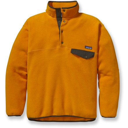 With the cozy warmth and durability you've learned to expect from this classic style, the Synchilla Snap-T from Patagonia is sure to be an integral part of your winter wardrobe for years to come. Synchilla(R) fleece keeps you warm and comfortable when the temperature dips, continuing to insulate even when wet. Four-snap placket is reinforced with Supplex(R) nylon. Y-joint(TM) sleeves enhance comfort and fit. Features stretch binding on the collar, cuffs and straight-cut hem to seal in warmth. On-seam, snap chest pocket. Relaxed fit. Closeout. - $44.93