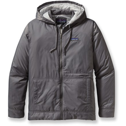 Lightweight but still strong enough to take on tough weather, the Patagonia Stoss hoodie pairs synthetic insulation with ripstop polyester for a versatile, durable jacket that won't weigh you down. Ripstop polyester shell features a Durable Water Repellent finish that causes water to bead up and roll off, keeping you dry in light rain or snow. PrimaLoft(R) ONE polyester insulation adds warmth and compressibility; diamond-pattern internal quilting keeps insulation in place, preventing cold spots. Full-length zipper; internal windflap seals in warmth; zipper garage protects neck and chin from abrasion. Patagonia Stoss hoodie features an insulated 3-piece hood that easily adjusts with drawcord for customized fit. 2 handwarmer pockets keep fingers toasty; 1 zippered torso pocket secures small essentials; 1 internal zippered chest pocket keeps additional items close at hand. Closeout. - $99.73