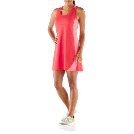 Fitness The REI Fleet Dress combines the performance of your favorite workout clothing with the feminine silhouette of a dress. Breathable polyester and spandex jersey fabric has a soft feel and wicks away moisture to keep you comfortable, and mesh inserts cool skin as you perspire. Fabric protects skin from too much UV light thanks to its UPF 50+ rating. Racerback styling promotes unrestricted motion and excellent comfort. Flatlock seams reduce chafing and increase comfort on long runs. Internal pocket on right side of dress is sized to fit a key or coins. Reflective details increase visibility in dim light. Active fit provides for a full range of motion and offers coverage to mid-thigh. - $24.83