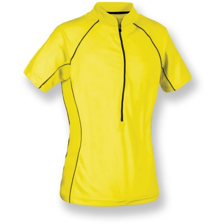 Fitness Be seen on the road with the women's Serfas Summit High-Visibility bike jersey. Ultrabright, textured polyester wicks moisture and feels soft. 12-in. front zipper makes for easy on/offs and ventilation control. 9-inch zippered back pocket stores your riding essentials. Closeout. - $19.93