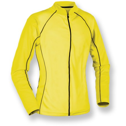 Fitness Be seen on the road with the women's Serfas Summit High-Visibility long-sleeve bike jersey. Ultrabright, textured polyester wicks moisture and feels soft. Full-length front zipper makes for easy on/offs and ventilation control. 9-inch zippered back pocket stores your riding essentials. Closeout. - $21.73