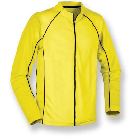 Fitness Be seen on the road with the men's Serfas Summit High-Visibility long-sleeve bike jersey. Ultrabright, textured polyester wicks moisture and feels soft. Full-front zipper makes for easy on/offs and ventilation control. 9-in. zippered back pocket stores your riding essentials. Closeout. - $29.73