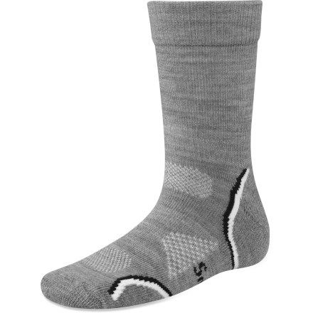 Entertainment From the playground to the dinner table, the Outdoor Light crew socks wrap small feet in soft SmartWool fibers. Made from soft wool blended with nylon and elastic, these socks wick moisture away from your feet, keeping them dry and cool in summer and warm in winter. Elasticized arch braces, flat-knit toe seams and cushioned soles add comfort. Closeout. - $6.73