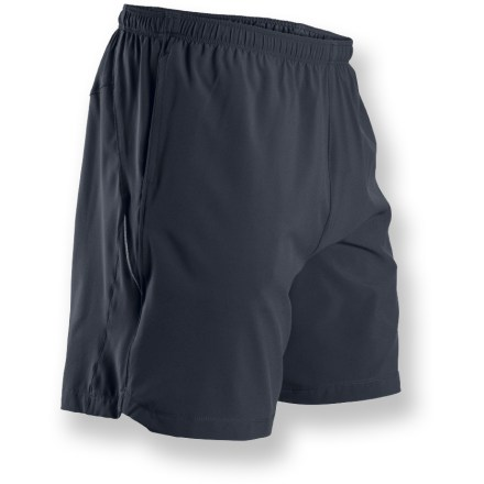 Fitness Providing lightweight, breathable comfort for your run, the Sugoi Pace 7 shorts boast high-performance fabric and plenty of features designed help you go farther and faster, no matter the distance. Lightweight, breathable polyester fabric wicks moisture away from skin and dries quickly, keeping you cool and comfortable; a touch of spandex offers comfortable stretch. Inner polyester liner also features wicking and quick-dry capabilities for continual comfort. Elastic waistband with interior drawcord provides customized fit. Hand pockets store small items while on the go; 1 interior key pocket easily secures key, ID or small media player. Additional zip pocket on center back offers a place to stow gels or other necessities on long runs. Sugoi Pace 7 shorts feature reflective details on sides to add visibility in low light. Closeout. - $32.93