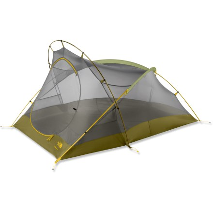 Camp and Hike A unique silhouette with a stellar reputation, The North Face classic Tadpole 23 tent has user-friendly features and a design that makes it ideal for 3-season exploration. Freestanding, geo-hybrid design offers an efficient shape and excellent weight-to-space ratio; plus, you get a large front D-shape door and vestibule. Mesh canopy and door promote high and low air circulation, increasing ventilation and breathability and decreasing interior condensation. Fully taped bathtub floor keeps you dry despite rainy conditions. Lightweight, easy-to-use clip pitch system; comprehensive color-coded pitching encompasses poles, canopy and fly so there's no chance of confusion. Strong, lightweight DAC(R) Pressfit aluminum poles are made without inserts so they are less susceptible to failure. Convenient overhead pockets stow headlamps and fragile items. Save weight and create a minimalist shelter by using just the rainfly, footprint (sold separately), poles and stakes. Tadpole 23 includes stuff sacks, guyline/tighteners and stakes. - $149.93