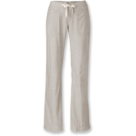 The North Face Larison Linen pants are lightweight and breathable, and feature a subtle stripe pattern in the fabric. They'll breathe new life into your wardrobe. Soft linen/cotton fabric feels great against your skin, breathes well and is easy to care for. Zip-fly Larison Linen pants feature a coconut-shell button closure and a comfortable herringbone-tape drawstring waist. Front patch pockets have small welt openings; welted rear pockets feature coconut-shell button closures. - $44.93