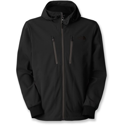 The North Face Ashbury soft-shell jacket is breathable and water resistant. It's ideal for everyday wear in chilly weather and provides maximum mobility. Apex Universal soft-shell fabric resists wind and light moisture, and it remains breathable during activity; soft backer fabric provides next-to-skin comfort and light warmth. Lined hood has a drawcord adjustment and zips off when you don't need it. Internal windflap prevents wind and water from seeping in. Knit cuffs seal in warmth. The North Face Ashbury soft-shell jacket has 2 zip hand and 2 zip chest pockets. - $190.00