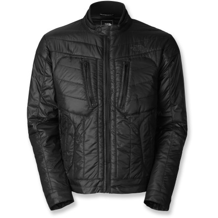 Auto and Cycle Motorcycle-style meets warmth and comfort in the insulated Mack Moto jacket from The North Face. Packable Heetseeker(TM) synthetic insulation continues to insulate even if wet and offers low-bulk warmth for layering. Fabric is treated with a Durable Water Repellent finish for water resistance and quick drying. Low-profile collar with additional internal ribbed collar. 2-snap adjustable cuffs. Zip hand pockets and 2 zip chest pockets; left chest pocket has a media cord port. The North Face Mack Moto jacket has a contemporary shorter-cut length. - $140.00